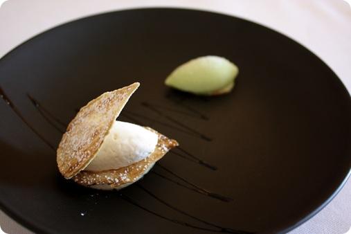 Feuilles d'aubergine glacées au sucre, crème de badiane, sorbet au basilic et réduction de vinaigre balsamique